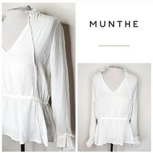 Munthe boho chiffon white peasant top